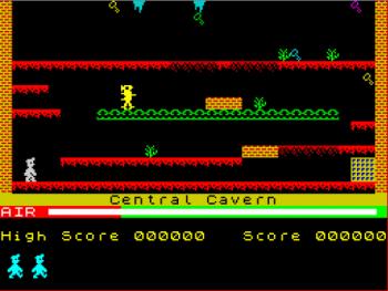 """La mítica """"Central Cavern"""", primera pantalla del Manic Miner"""